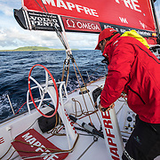 Leg 4, Melbourne to Hong Kong, day 07 on board MAPFRE, Pablo Arrarte triming while we were passing the western island of Salomon Islands. Photo by Ugo Fonolla/Volvo Ocean Race. 07 January, 2018.