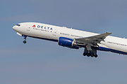 A Delta Airlines Boeing 777-200ER takes off Los Angeles International Airport (LAX) on Friday, February 28, 2020 in Los Angeles. (Brandon Sloter/Image of Sport)