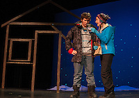 "East (Hunter Sanborn) is confused when Glory (Kaylee Lemire) asks if she can camp out in his yard during the scene ""Her Heart"" at dress rehearsal for ""Almost, Maine"" with Gilford High School's Performing Arts Tuesday afternoon.  (Karen Bobotas/for the Laconia Daily Sun)"