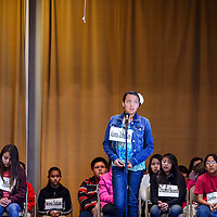 """031314       Cable Hoover<br /> <br /> Aiona Johnson ponders the spelling of the word """"renovate"""" during a spelling bee at St Michael Indian School Thursday."""