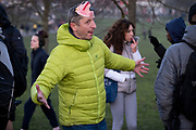 A day after London Mayor Sadiq Khan announced the spread of Covid is said to be out of control, a group of Covid-deniers gather to challenge lockdown rules and authoritarian control at passing south Londoners in Brockwell Park in Lambeth and during the third pandemic lockdown, on 9th January 2021, in London, England. The Coronavirus infection rate in London has exceeded 1,000 per 100,000 people, based on the latest figures from Public Health England although the Office for National Statistics recently estimated as many as one in 30 Londoners has coronavirus.
