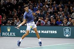 November 3, 2018 - Paris, France - Serbian player NOVAK DJOKOVIC returns the ball to Swiss player R. Federer during the semi final of tournament Rolex Paris Master, at AccorHotels Arena Stadium. Djokovic won 7-6 5-7 7-6. (Credit Image: © Pierre Stevenin/ZUMA Wire)