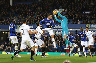 Swansea City Goalkeeper Lukasz Fabianski claims the ball ahead of Kevin Mirallas of Everton. Premier league match, Everton v Swansea city at Goodison Park in Liverpool, Merseyside on Saturday 19th November 2016.<br /> pic by Chris Stading, Andrew Orchard sports photography.