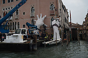 LORENZO QUINN WORK BEING INSTALLED,  CA D'ORA, Venice Biennale,  Thursday11 May 2017