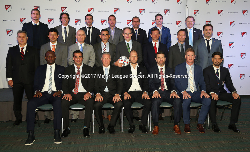 13 January 2017: The head coaches pose for a photo. Front row (from left): New York City FC's Patrick Vieira (FRA), Real Salt Lake's Jeff Cassar, Sporting Kansas City's Peter Vermes, Columbus Crew's Gregg Berhalter, Toronto FC's Greg Vanney, Philadelphia Union's Jim Curtin, Chicago Fire's Veljko Paunovic (SRB). Middle row (from left): Atlanta United FC's Gerardo Tata Martino (ARG), Houston Dynamo's Wilmer Cabrera (COL), San Jose Earthquake's Dominic Kinnear (SCO), Colorado Rapids Pablo Mastroeni, Seattle Sounders FC's Brian Schmetzer, New York Red Bull's Jesse Marsch, Portland Timbers FC's Caleb Porter, Los Angeles Galaxy's Curt Onalfo. Back Row (from left): Vancouver Whitecaps FC's Craig Robinson, Montreal Impact's Mauro Biello, DC United's Ben Olsen, Orlando City FC's Jason Kreis, FC Dallas's Oscar Pareja (COL), New England Revolution's Jay Heaps, and Minnesota United FC's Adrian Heath (ENG). The 2017 MLS SuperDraft was held at The Los Angeles Convention Center in Los Angeles, California as part of the annual NSCAA Convention.