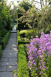 Path and low box hedging at Sissinghurst Castle Garden