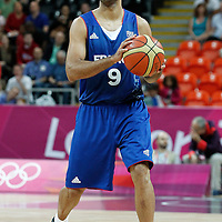 04 August 2012: France Tony Parker looks to pass during 73-69 Team France victory over Team Tunisia, during the men's basketball preliminary, at the Basketball Arena, in London, Great Britain.