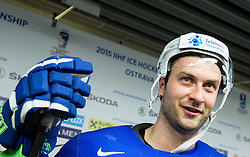 Sabahudin Kovacevic of Slovenia in Mixed zone after the Ice Hockey match between Slovenia and Denmark at Day 11 in Group B of 2015 IIHF World Championship, on May 11, 2015 in CEZ Arena, Ostrava, Czech Republic. Photo by Vid Ponikvar / Sportida