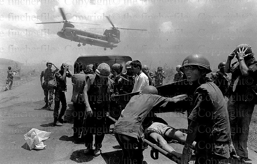 Chaos on the road from Xuan Loc to Saigon as South Vietnamese  military  evacuate from the advancing North Vietnamese troops. April 1975.Photograph by Terry Fincher