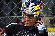 May 21, 2014: Monaco Grand Prix: Mark Webber on a bike ride in Monaco.