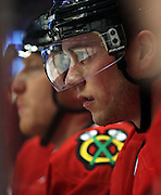 Chicago Blackhawks center Jonathan Toews (19) in the second period Friday, April 26, 2013 at the United Center. (Brian Cassella/Chicago Tribune)  B582761470Z.1 <br /> ....OUTSIDE TRIBUNE CO.- NO MAGS,  NO SALES, NO INTERNET, NO TV, CHICAGO OUT, NO DIGITAL MANIPULATION...
