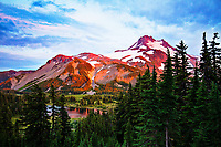 My favorite of Mount Jefferson! I have a huge print of this. The pink glow of the sunset on the mountain was absolutely unbelievable. I couldn't help but be thankful we were behind in our trek into the Park (too many stops for pictures of course) and had to set up camp in near dark, just so I could capture this moment, complete with a little lake reflection, of the height of the pink intensity of the sunset.