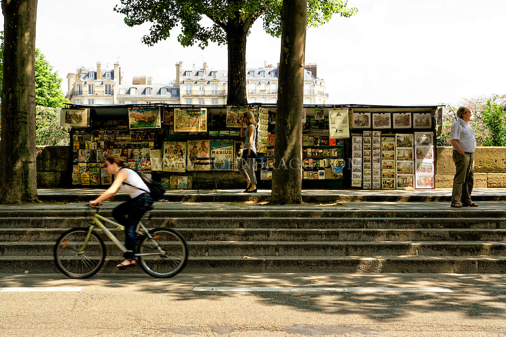 Art stand found along the Seine River, Paris, France.