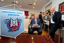 Ernest Aljancic Nest in Janez Potocnik na skupscini Hokejske zveze Slovenije, on September 7, 2011, in Ljubljana, Slovenia. (Photo by Matic Klansek Velej / Sportida)