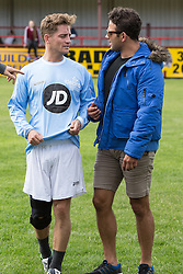 © Licensed to London News Pictures . 02/08/2015 . Droylsden Football Club , Manchester , UK . PHILLIP OLIVIER and RYAN THOMAS . Celebrity football match in aid of Once Upon a Smile and Debra , featuring teams of soap stars . Photo credit : Joel Goodman/LNP