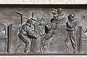 Bronze battleship relief at the National World War II Memorial, Washington DC, United States of America