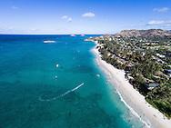 Aerial of Kailua Beach, Oahu, Hawaii