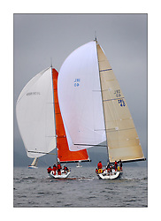 Yachting- The last days racing  of the Bell Lawrie Scottish series 2003 at Tarbert Loch Fyne.  Damp grey skies and light winds decided the final results in most fleets...Azure a Dubois 40,IRL 40 & Kerr 11.3 Blue Bell in Class one...Pics Marc Turner / PFM