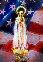 """""""Our Lady of Fatima embraces the Old Glory - Painting by Dino Carbetta""""…<br /> <br /> Inspiring hope in such a desperate situation, the Holy Father – John Paul II celebrated Mary as the only creature who has fully experienced the final victory of life. He presented her as the one who remains at the center of the struggle for life in this world: At her Assumption, Mary was """"taken up to Life"""" – body and soul. She is already a part of """"the first fruits"""" (1 Cor 15:20) of our Savior's redemptive Death and Resurrection. The Son took his human life from her; in return, he gave her the fullness of communion in Divine Life. She is the only other being in whom the mystery has already been completely accomplished. In Mary, the final victory of Life over death is already a reality. These are astonishing words – """"the final victory of Life over death is already a reality"""" in Our Lady! It is also one of the boldest prophetic statements of our age to claim that, after Christ, the Virgin Mary """"is the only other being in whom the mystery [of Divine Life] has already been completely accomplished."""" In so many words the Holy Father was saying that all those who consider themselves pro-life must take Mary as their pre-eminent champion in the struggle to restore legal protection to unborn children and to root out a pervasive culture of death. Our Lady was the channel through which Divine Life came to us. She is now the one who will restore life to a society that has succumbed to death."""