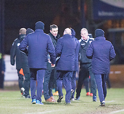 Ross County's manager Jim McIntrye and Dundee's bench at the end. <br /> Dundee 1 v 1 Ross County, SPFL Premiership game player 4/1/2015 at Dundee's home ground Dens Park.