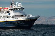 The ship, Sea Bird, lies at anchor near Los Islotes so tourists can view sea lions.
