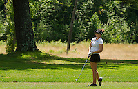 Victoria Elizabeth watches her shot drop during the LPGA Symetra Tour at Beaver Meadow Golf Course Friday afternoon.  (Karen Bobotas/for the Concord Monitor)