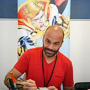 Business Design Centre, England, UK. 23rd August 2017. Nikos Koutsis is a artist stall at the London Super Comic Convention 2017.