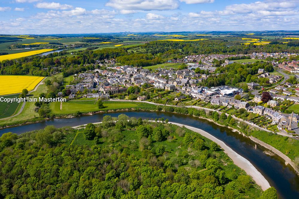 Aerial view of Coldstream beside River Tweed in Scottish Borders, Scotland, UK