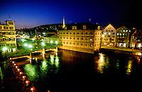 Limmatquai and Rathausbrucke (bridge), Zurich, Switzerland