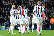 West Brom players celebrate with Saido Berahino (2nd left) after he scores a goal. The Emirates FA Cup, 4th round match, West Bromwich Albion v Peterborough Utd at the Hawthorns stadium in West Bromwich, Midlands on Saturday 30th January 2016. pic by Carl Robertson, Andrew Orchard sports photography.