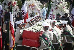 TEHRAN, Oct. 3, 2015 (Xinhua) -- Iranian soldiers carry coffins of dead pilgrims during a ceremony to pay tribute to 104 Iranian pilgrims killed in the latest Hajj stampede and transferred to Mehrabad airport in Tehran, capital of Iran, on Oct. 3, 2015. Rouhani on Saturday urged for an investigation into the latest Hajj stampede in Saudi Arabia which left 465 Iranian pilgrims dead. (Xinhua/Ahmad Halabisaz) (Credit Image: © Ahmad Halabisaz/Xinhua via ZUMA Wire)