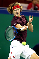 October 12, 2017 - Alexander Zverev of Germany returns the ball during the singles third round match against Juan Martin Del Potro of Argentina at 2017 ATP Shanghai Masters tennis tournament in Shanghai, east China. Alexander Zverev lost 1-2. (Credit Image: © Fan Jun/Xinhua via ZUMA Wire)