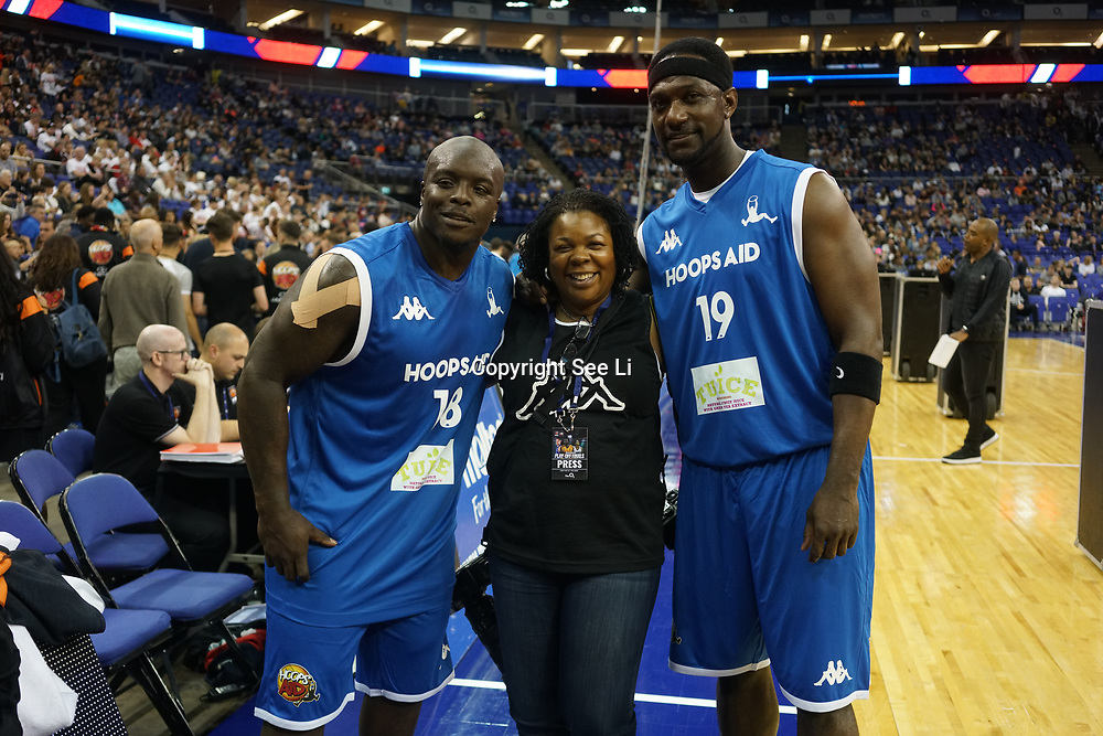 London,England,UK. 14th May 2017. Sports starts and celebrities attends the BBL Play-Off Finals also fundraising for Hoops Aid 2017 but also a major fundraising opportunity for the Sports Traider Charity at London's O2 Arena, UK. by See Li