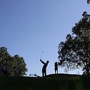 Bubba Watson, USA, plays his approach shot on15th during an early morning start at The Barclays Golf Tournament at The Plainfield Country Club, Edison, New Jersey, USA. 27th August 2015. Photo Tim Clayton