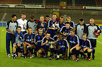 Fotball<br /> Belgisk Super-Cup<br /> 02.08.2003<br /> Brugge v La Louviere<br /> NORWAY ONLY<br /> Foto: Digitalsport<br /> Trond Sollied - Bengt Sæternes<br /> <br /> BRUGGE 02/08/2003<br />SUPER COUPE-SUPER BEKER-SUPER CUP<br />CLUB BRUGGE-LA LOUVIERE<br />PLOEG FOTO-PHOTO D'EQUIPE<br />TIMMY SIMONS-TROND SOLLIED-PHILIPPE CLEMENT-DANY VERLINDEN ETC<br />PICTURE PHILIPPE CROCHET<br />©PHOTO NEWS