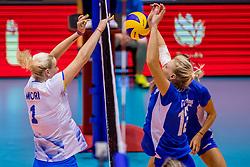 23-08-2017 NED: World Qualifications Greece - Slovenia, Rotterdam<br /> SloveniÎ wint met 3-0 / Aikaterina Giota #13 of Greece, /Eva Mori #1 of Slovenia<br /> Photo by Ronald Hoogendoorn / Sportida