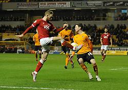 Scott Wagstaff crosses the ball - Mandatory byline: Dougie Allward/JMP - 08/03/2016 - FOOTBALL - Molineux Stadium - Wolverhampton, England - Wolves v Bristol City - Sky Bet Championship