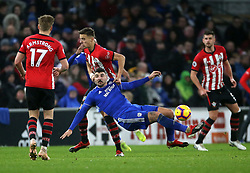 Cardiff City's Callum Paterson and Southampton's Jan Bednarek battle for the ball during the Premier League match at the Cardiff City Stadium, Cardiff.
