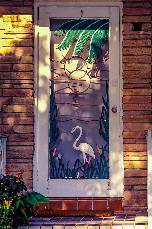 An Art Deco screen door in Miami Beach's historic South Beach neighborhood,