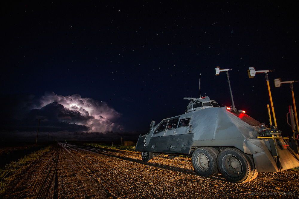The Tornado Intercept Vehicle parks on a dirt road in Kansas, May 9, 2015.