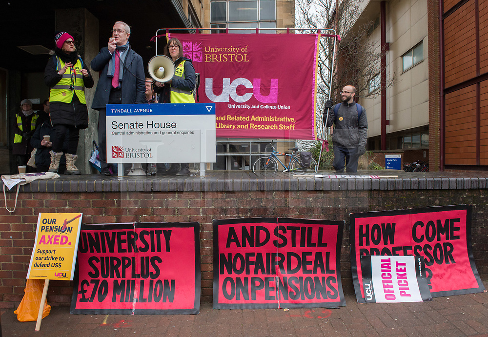 © Licensed to London News Pictures. 12/03/2018. Bristol, UK. University and College Union (UCU) nation wide strike. Professor HUGH BRADY, Vice-Chancellor and President of the University of Bristol, speaks at a strike rally outside the university administrative centre Senate House. UCU lecturers begin a fourth week of strikes at the University of Bristol. Lecturers and other university staff are holding an escalating wave of strikes over a four-week period at 61 universities across the country over a change in their pensions. The dispute centres on proposals to end the defined benefit element of the Universities Superannuation Scheme (USS) pension scheme. UCU says this would leave a typical lecturer almost £10,000 a year worse off in retirement than under the current set-up. Photo credit: Simon Chapman/LNP
