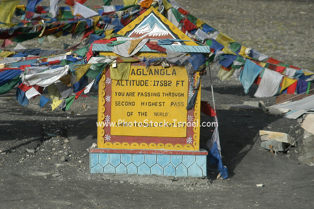 India, Ladakh, Taglang la Pass the sign post showing the altitude of 17,582 Ft. The 2nd highest motorable road in the world Himalayas Northern India