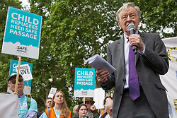London, UK. 18 June, 2019. Lord Alf Dubs joins Safe Passage at a demonstration in Parliament Square to demand that the Government resettle 10,000 unaccompanied refugee children over 10 years. As part of Lord Dubs' 'Our Turn' campaign, councils around the UK have already pledged places for over 1,100 children if the Government should make a new resettlement commitment.