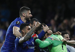 BRITAIN-LONDON-FOOTBALL-UEFA EUROPA LEAGUE-CHELSEA VS FRANKFURT.(190510) -- LONDON, May 10, 2019  Chelsea's Kepa Arrizabalaga (1st R) celebrates with teammates after winning the penalty shoot of the UEFA Europa League semi-final second leg match between Chelsea and Frankfurt in London, Britain on May 9, 2019.  FOR EDITORIAL USE ONLY. NOT FOR SALE FOR MARKETING OR ADVERTISING CAMPAIGNS. NO USE WITH UNAUTHORIZED AUDIO, VIDEO, DATA, FIXTURE LISTS, CLUBLEAGUE LOGOS OR ''LIVE'' SERVICES. ONLINE IN-MATCH USE LIMITED TO 45 IMAGES, NO VIDEO EMULATION. NO USE IN BETTING, GAMES OR SINGLE CLUBLEAGUEPLAYER PUBLICATIONS. (Credit Image: © Xinhua via ZUMA Wire)
