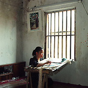 A woman embroiders a picture at home in Quat Dong embroidery village, Ha Tay province, Vietnam. With Vietnam's growing population making less land available for farmers to work, families unable to sustain themselves are turning to the creation of various products in rural areas.  These 'craft' villages specialise in a single product or activity, anything from palm leaf hats to incense sticks, or from noodle making to snake-catching. Some of these 'craft' villages date back hundreds of years, whilst others are a more recent response to enable rural farmers to earn much needed extra income.