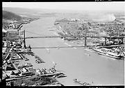 "Ackroyd 03525-31 ""Aerials, Portland, April 3, 1952"" St. Johns bridge aerial, looking north.  (Gasco, DEQ site ID 84, south of St. Johns bridge, Siltronic)"