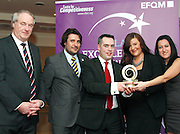 Dr Tony Lenehan of Fáilte Ireland and Matt Fisher COO, EFQM present  Garret O'Neill, General Manager, of Crowne Plaza Blanchardstown, Lisa Meehan and Magda Rybka with their award at the EFQM Ireland Excellence Awards ceremony in association with Fáilte Ireland and the Centre for Competitiveness at the Galway Bay Hotel on Friday night. Photo:- Andrew Downes Photography / No Fee