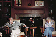 """Hungarian-born American physicist Edward Teller, who is best known as """"the father of the hydrogen bomb"""". Seen here at his home in Stanford, California with his wife in their living room. Born in 1908, he obtained his Ph.D. at the University of Leipzig. He left Europe in the 1930s because of the Nazi threat. During World War II he worked at Los Alamos on the development of the atom bomb. In the late 1940s & early 1950s he championed development of the H-bomb & achieved the crucial technical breakthrough that made the bomb possible. The first H-bomb was exploded in the South Pacific in 1952. MODEL RELEASED.Teller died in Stanford, California on September 9, 2003."""