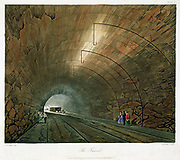 The Tunnel. From T T Bury 'Coloured Views on the Liverpool and Manchester Railway', 1831. Engineer: George Stephenson. Aquatint.