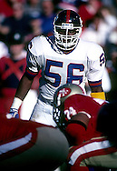 SAN FRANCISCO, CA-1991:  NFL linebacker Lawrence Taylor of the New York Giants during the 1991 NFC Championship game against the San Fransisco 49'ers at Candlestick Park, San Francisco, CA.    (Photo by Ron Vesely)